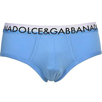 Dolce & Gabbana Two-Tone Retro Logo Brando Brief, Light Blue