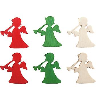 12 Self Adhesive Wooden Angels For Christmas Crafts