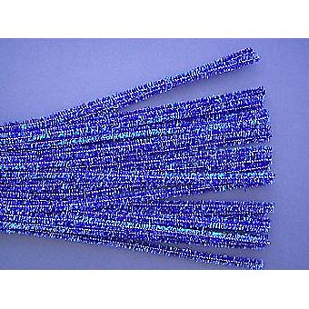 25 Blue 6mm Tinsel Pipe Cleaners | Glitter Pipecleaners