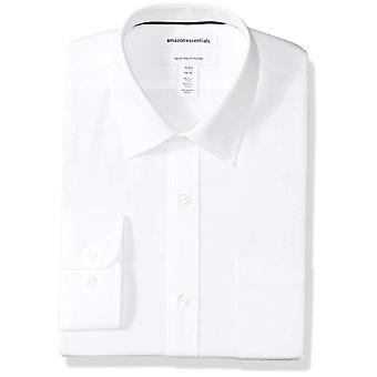 "Essentials Men's Regular-Fit Falten-resistente Langarm-Massivkleid Shirt, weiß, 18,5"" Hals 34""-35"" Ärmel"