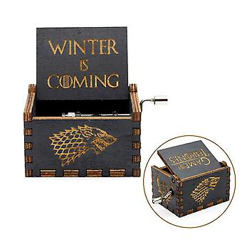 Vintage Game Of Thrones Theme Song Engraved Wooden Hand Crank Music Box
