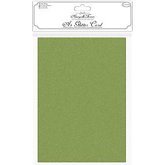 Craft Consortium Glitter Card A4 Moss Green