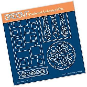 Groovi Tina&apos&s Funky Bow Tie & Panneaux de superposition de voiture à bulles A5 Plaque carrée