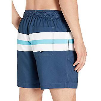 "Essentials Men's 7"" Swim Trunk,Navy/Blue Big Stripe,Large"