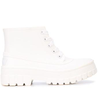 Glaston White Lace-up Boots