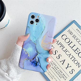 Moskado iPhone 8 زائد حقيبة الرخام الملمس - صدمة لامعة حالة الجرانيت غطاء غطاء TPU
