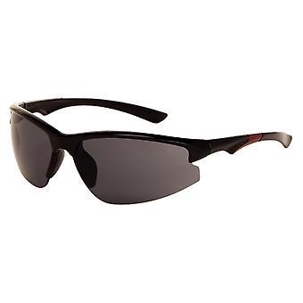 Sonnenbrille Unisex   Herren  schwarz / rot mit grauer Linse (9180 P)