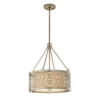 4 Licht Cilindrisch plafond hanger licht zilverblad, E27