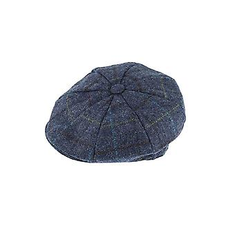 Blue Check Abraham Moon 8-Piece Tweed Cap