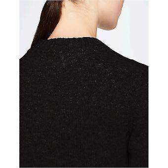 Meraki Women's Boxy Crew Neck Sweater, Black, EU L (US 10)