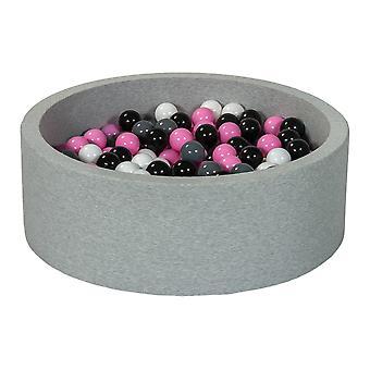 Poço de bola 90 cm com 300 bolas pretas, brancas, roxas claras e cinza