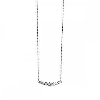 بدايات الجنيه الاسترليني الفضة N4105C واضح CZ قلادة شريط منحني صغير
