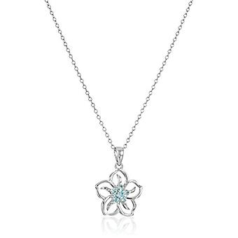 Sterling Silver Created Aquamarine Flower Pendant Necklace,, White, Size No Size