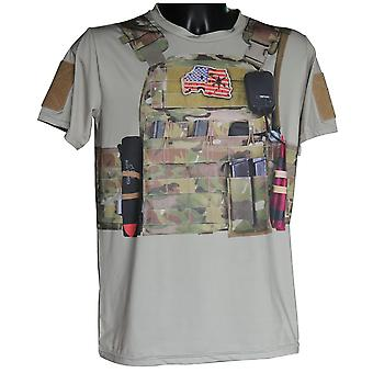 Cool 3d Material Mens Army Tactical Military Training T-shirt
