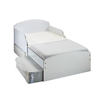 Hvid toddler seng med fibermadras og opbevaring