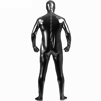 AltSkin Adult/Kids Full Body Stretch Fabric Zentai Suit - Zippered Back One Piece Stretch Suit Costume - Metallic Black
