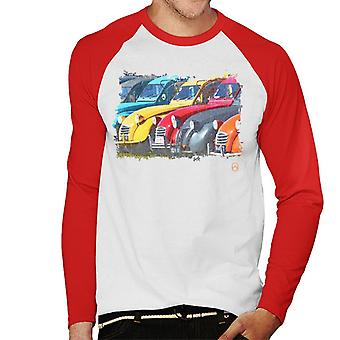 Citro?n 2CV In A Line Retro Photo Men's Baseball Long Sleeved T-Shirt