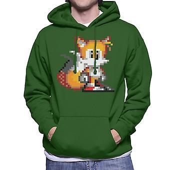 ソニック・ザ・ヘッジホッグ・テールズ・ピクセル化スタンス・メン&アポス;フード付きスウェットシャツ