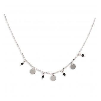 Rhodié Silver Necklace With Full Disc Charm And Enamelball 40-5cm
