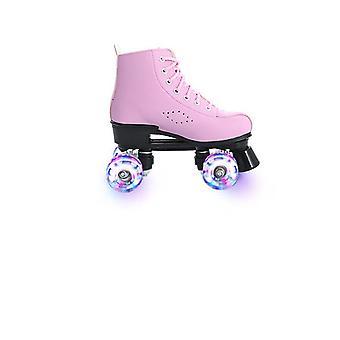4-pyöräiset mikrokuitunahka rullaluistimet kengät miehelle /naiselle