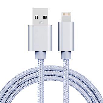 1m 3A Kudottu tyyli Metallipää 8 Nasta USB-tietoihin / laturikaapeliin, iPhone X / iPhone 8 & amp; 8 Plus / iPhone 7 & 7 Plus / iPhone 6 & &6s& &Plussaa 6s Plu