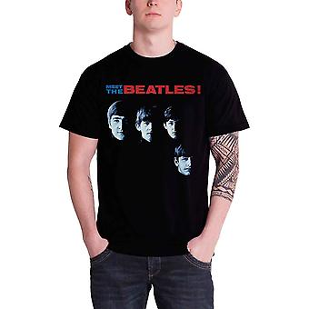 The Beatles T Shirt Meet The Beatles band logo Official Mens Black