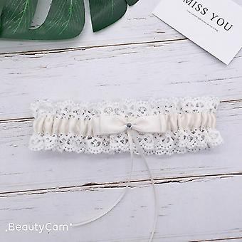Beautiful Wedding Garter Bridal Shower Keepsake Lace Floral Rhinestone Bow