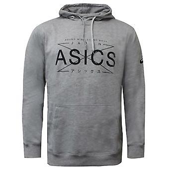 Asics Mens Graphic Hoodie Training Sweatshirt Grey Jumper 141090 0714