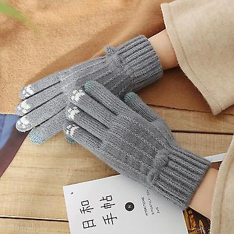 Women Birds Embroidery Gloves, Knitted, Fingerless, Plus Velvet, Block Splice