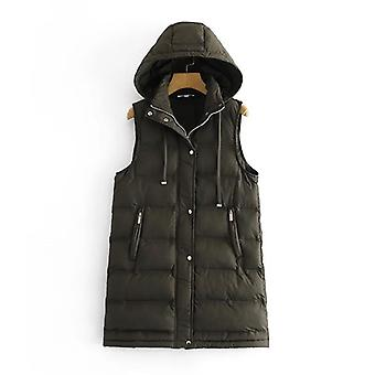 Fashion Ladies Sleeveless Pocket Parka Hooded Warm Long Vest Coat