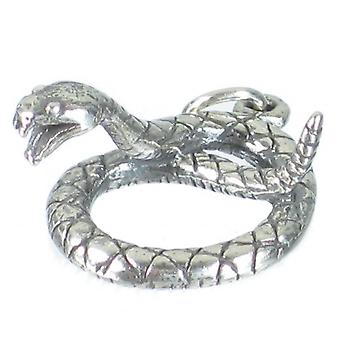 Snake Coiled Sterling Silver Charm Pendant .925 X 1 Snakes Charms - 2676