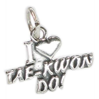 I Love Taekwon Do Sterling Silver Charm .925 X 1 Martial Arts Charms - 3790