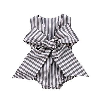 Baby Girl Striped Sleeveless V-Neck Romper Outfit