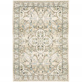 2'x3' Beige and Ivory Medallion Indoor Area Rug