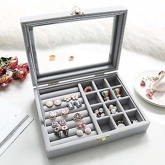 5 kolorów Dual-Lock Pierścień Kolczyk Biżuteria Box Flanela Materiał Przechowywanie Box Dressi