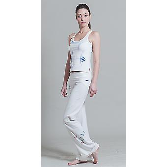 Om Shanti Yoga Pants For Women - White/Blue