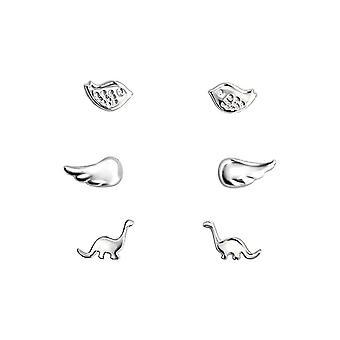 Lapset'Sterling hopea dinosaurus, siipi ja lintu korvakorut set