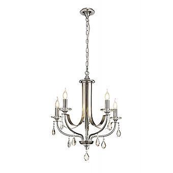 Lámpara Colgante De Cristal Efez 5 Bombillas Cromo Pulido