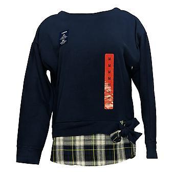 IZOD Women's Sweater Tie Front Detail Print Shirt Bottom Hem Pullover Blue