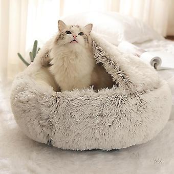 Pluche gesloten faux fur huisdier bed voor kleine honden en katten