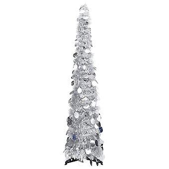 vidaXL الاصطناعي المنبثقة شجرة عيد الميلاد الفضة 120 سم PET