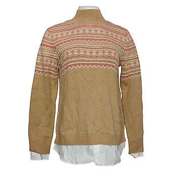 Isaac Mizrahi Live! Dames trui lange mouw pullover beige A389124