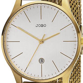 JOBO hommes montre quartz analogique acier inoxydable or plaqué date watch