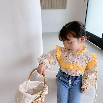 Spring Toddler Cute Floral Long Sleeve Blouse, Baby Cotton, Retro Sweet Shirts