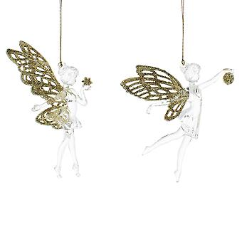 Single 15cm Clear and Light Gold Acrylic Fairy - Hanging Ornament