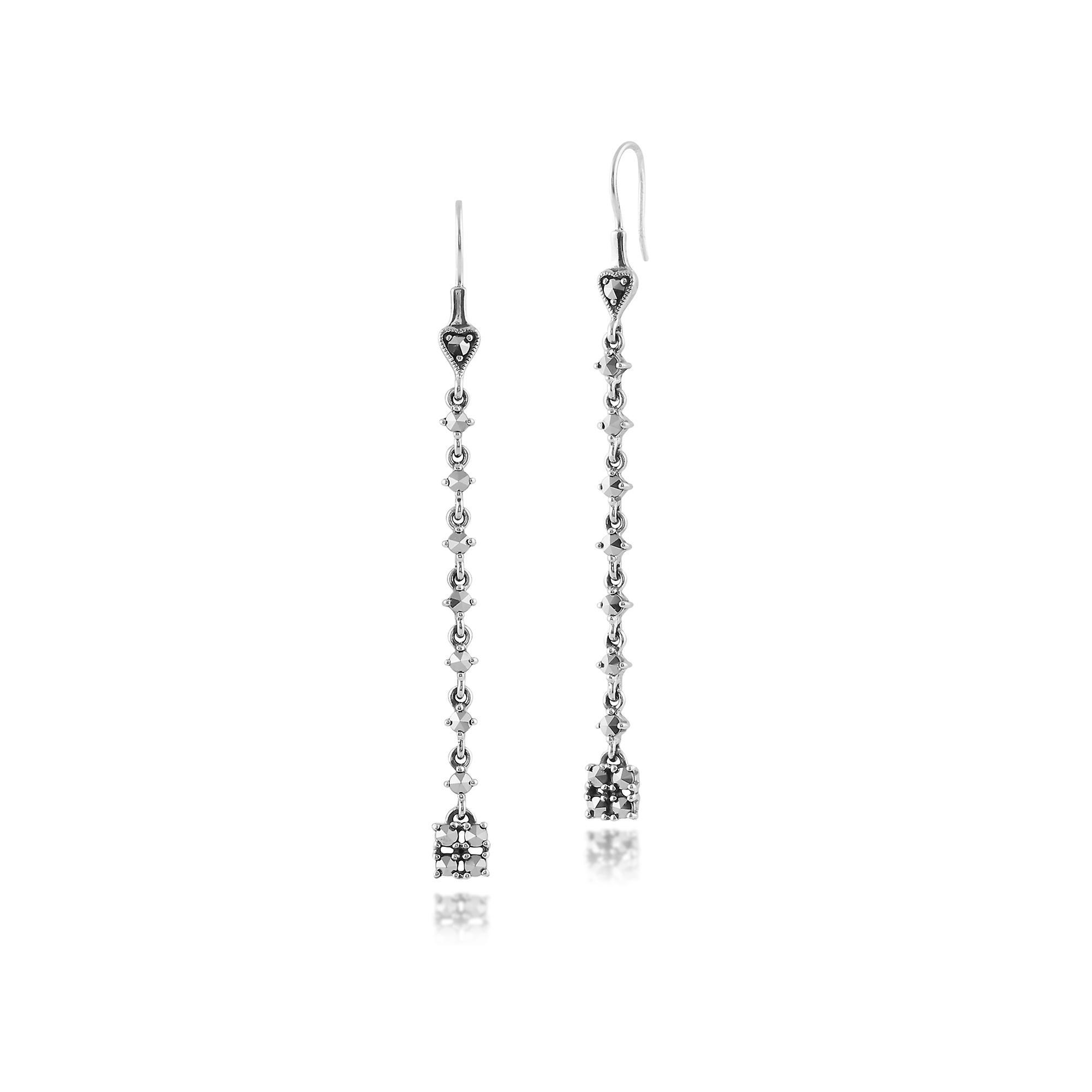925 Sterling Silver Marcasite Long Dangle Drop Earrings