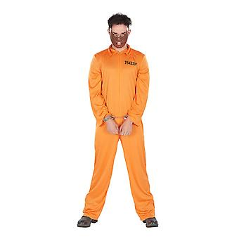 Mens straffånge orange Jumpsuit fånge outfit Halloween fancy Dress kostym