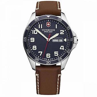 Relógio masculino Victorinox FIELDFORCE, caixa de aço inoxidável, cinta de couro marrom - 42 mm