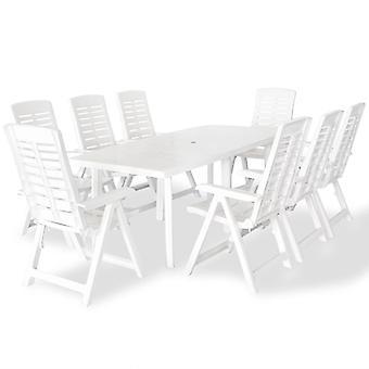 vidaXL 9-tlg. Groupe de jardin en plastique blanc