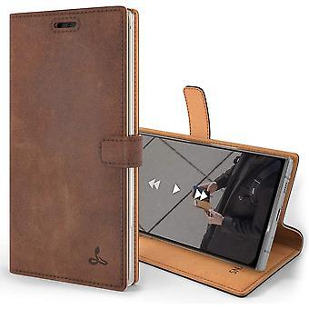 Vintage Geldbörse für Samsung Galaxy Note 10 Plus || Echtes Leder Geldbörse HandyHülle || Echtes Leder